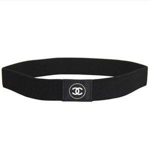 CHANEL black elastic headband